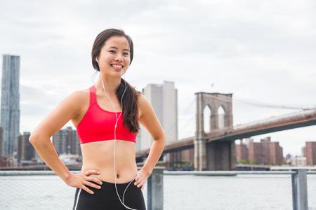 Asian girl jogging