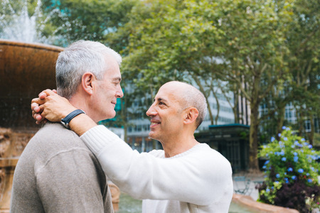 gay boy: Gay Couple at Park in New York Stock Photo