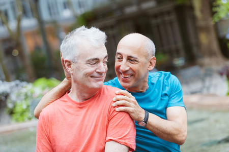 Gay Couple at Park in New York Stock Photo - 34512599