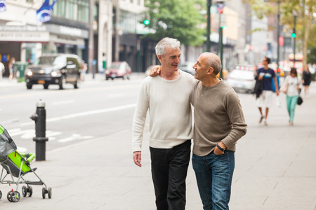 gay couple: Gay Couple Walking in New York