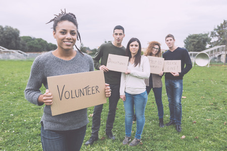 Multiethnic Group of Young Volunteers