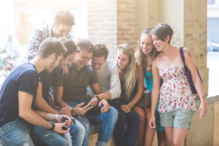 Group of Friends with Digital Tablet photo