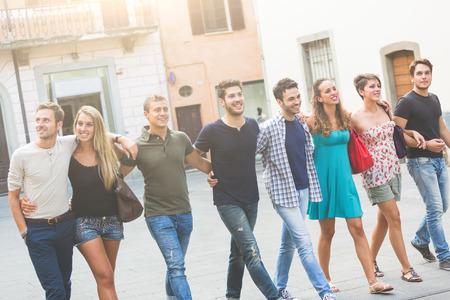 Group of Friends in Town Square, Friendship Theme photo