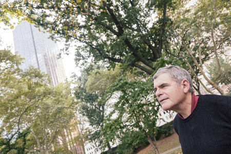 greying: Portrait of Retired Senior Man at Park, Relaxed Expression Stock Photo