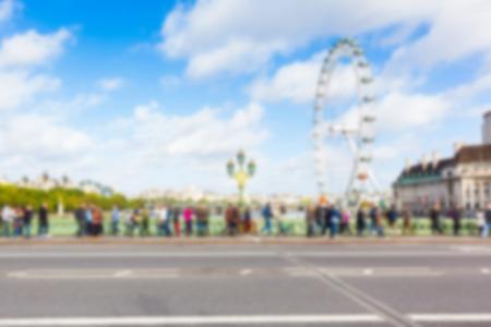 millennium wheel: London cityscape with Millennium Wheel, blurred background Editorial