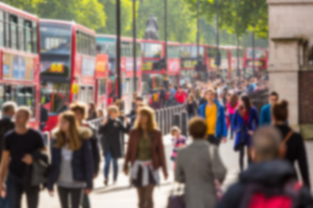 intentionally: Blurred background of crowded street in London