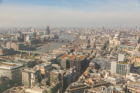 blackfriars bridge: London aerial view with Thames and St Paul cathedral. On the left side of the photo there are also the Millennium Wheel and the Big Ben. Stock Photo