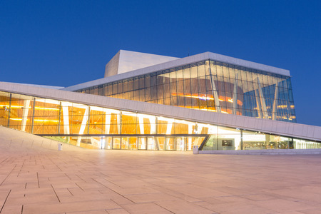 opera house: Opera House in Oslo at blue hour Editorial