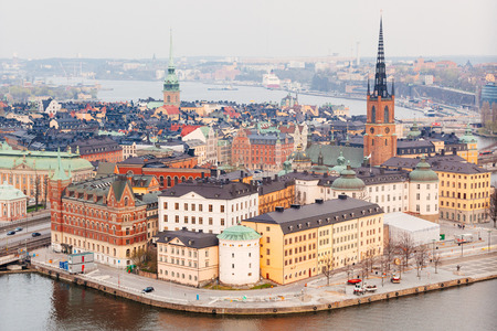gamla stan: Aerial view of Stockholm old town, it Swedish name is Gamla Stan and it is one of the fourteen islands of the city