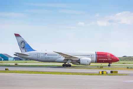 boeing: COPENHAGEN, DENMARK - MAY 2, 2015: Norwegian airlines Boeing 787 Dreamliner at Copenhagen CPH airport taxiing to runway. Boeing 787 is the latest aiplane from Boeing. Editorial
