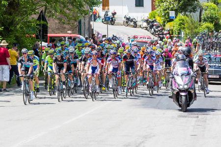 exultation: CHIAVARI, ITALY - MAY 12, 2015: Group of cyclists during the 4th stage of Giro dItalia Editorial