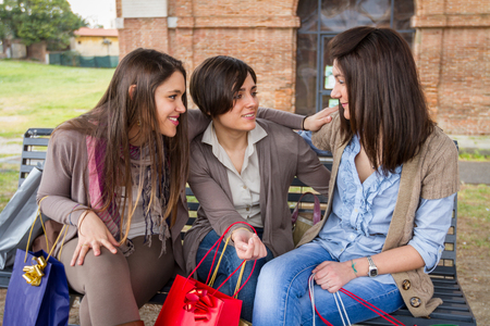 after shopping: Three Happy Women After Shopping