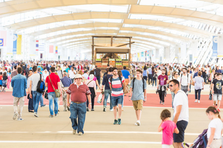 the world expo: MILAN, ITALY - JUNE 01, 2015: People visiting Expo 2015. The theme of the Universal Exposition is Feeding the Planet, Energy for Life.