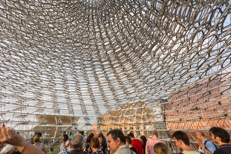 exhibition crowd: MILAN, ITALY - JUNE 01, 2015: United Kingdom pavilion at Expo 2015. The theme of the Universal Exposition is Feeding the Planet, Energy for Life. Editorial