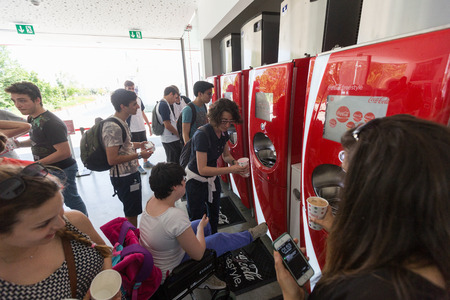 the world expo: MILAN, ITALY - JUNE 03, 2015: Coca Cola Pavilion at Expo 2015. The theme of the Universal Exposition is Feeding the Planet, Energy for Life. Editorial