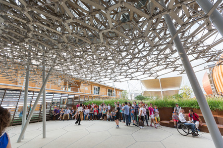 the world expo: MILAN, ITALY - JUNE 01, 2015: United Kingdom pavilion at Expo 2015. The theme of the Universal Exposition is Feeding the Planet, Energy for Life. Editorial