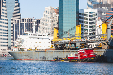 freighter: Bulk carrier passing under Brooklyn bridge in New York and navigating toward north on East river. On background there is downtown Manhattan with some skyscrapers.