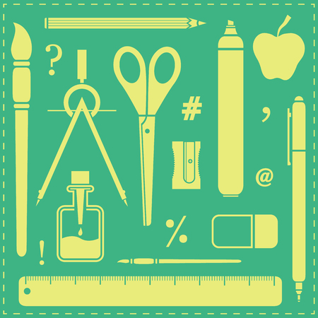 school work: School or office stylized objects collection on green background. Back to school or back to work concept.