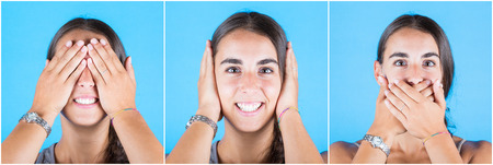 hands covering ears: Young woman covering eyes, ears and mouth with her hands. Head and shoulders multiple portrait of the same woman. Three wise monkeys sayings.
