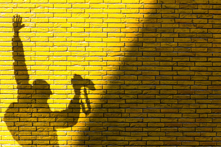 raised arms: Shadow of a photographer with raised arms on a yellow brick wall. Half wall is in the shadow, on the other half there is the shadow of a man holding a camera.
