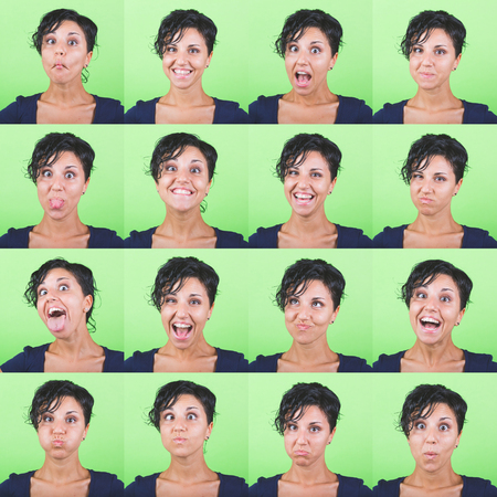 multiple image: Multiple image of a beautiful young woman with short hair on a green background. Various expressions and emotions, positive and negative.