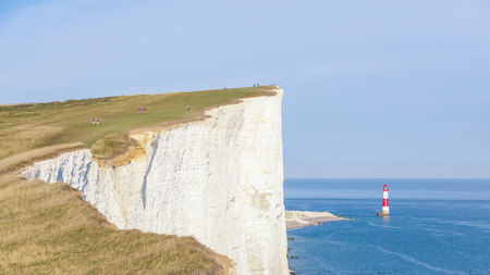 english channel: Cliffs, lightouse and sea in southern England next to Eastbourne. Seven Sisters cliffs face the English Channel and they are a famous place to visit for tourists.