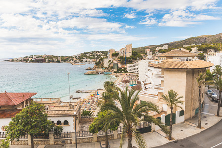 major ocean: Mallorca, view of Cala Mejor beach. Hotels and seaside of this beautiful beach in Majorca. Summer, tourism and travel concepts.