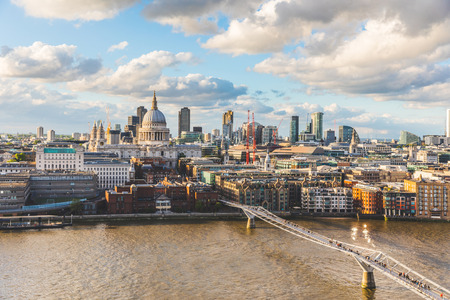 London and St Paul Cathedral at sunset, aerial view. Panoramic image of London with Thames river on foreground, and the city on background. Travel and architecture concepts Reklamní fotografie - 79842176