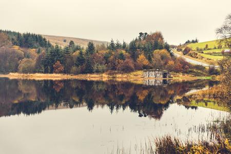 秋のパノラマ: 湖の反射が付いている木。自然と旅行テーマ組成ウェールズの不機嫌そうな日。緑、オレンジと茶色の葉
