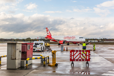 BERLIN, GERMANY - APRIL 27, 2016: Airberlin Airbus A320 at Berlin airport. The company has filed for bankruptcy and will cease operations on 28th October 2017.