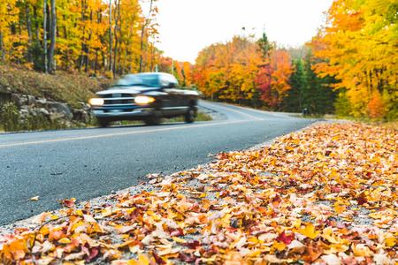 秋の色と木々と田舎の道路上のピックアップ。車の通過をぼやけ、フォアグラウンドで地面に葉に焦点を当てます。旅行と秋のコンセプト。
