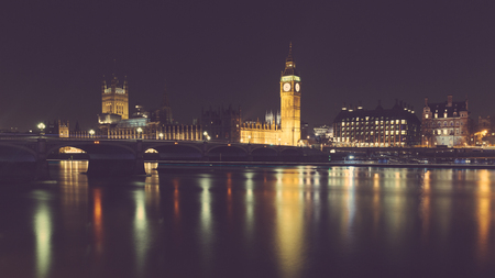 London night view with Big Ben and parliament at westminster. Long exposure shot with reflections on Thames river. Travel and architecture concepts