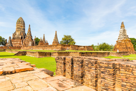 Ayutthaya, Thailand, ruins of old temples in the historical park. Wat Phra Si Sanphet Buddhist temple in the city near Bangkok. History and religion concepts. Фото со стока - 117173349