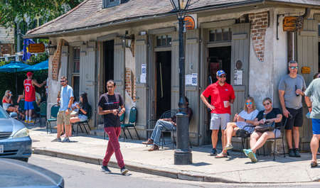 Newly reopened Lafitte's Blacksmith Shop Bar in French Quarter during Corona Virus pandemic