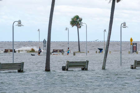 New Orleans, Louisiana/USA - 9/15/2020: Storm Surge from Hurricane Sally in Lake Pontchartrain
