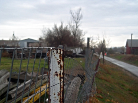 wire fence: An aging wire fence