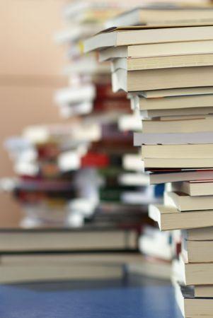 books on library desk