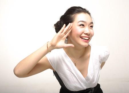Asian woman salute
