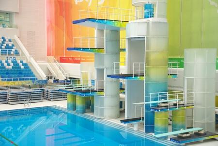 piscina olimpica: plataforma del Cubo de Agua de Beijing Centro Acuático Nacional Editorial