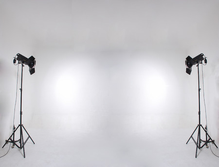 studio setup with lights and background photo