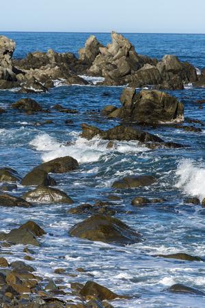 dangerous reef: a shot of rocks close to beach