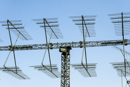 millitary: a shot of a millitary radar antenna Stock Photo