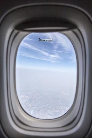 plane window: sky from plane window Stock Photo
