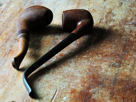 Wooden pipes for smoking leisure time.