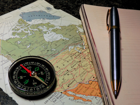 Compass. Preparing the travel route to take different destinations.