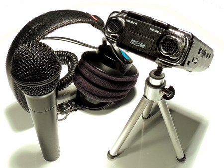 Team of professional audio recording for radio, film and TV. Imagens