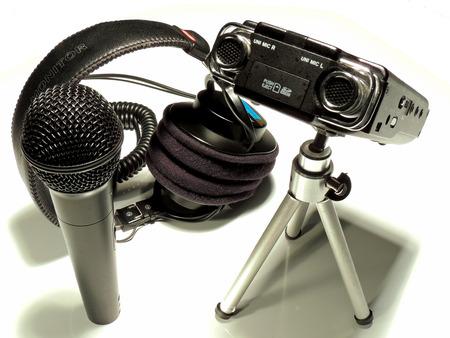 faithfulness: Team of professional audio recording for radio, film and TV. Stock Photo