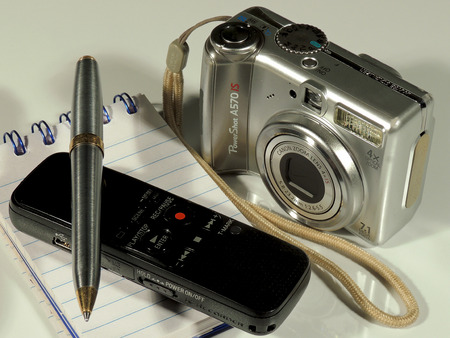 annotation: Notepad and pens as part of written communication. Stock Photo
