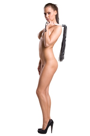 very sexy nude girl with a whip in her hands isolated on white background