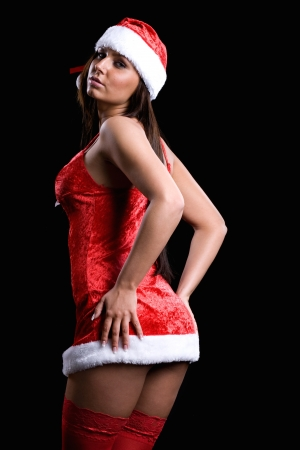 santa lingerie: very sexy christmas women isolated on black